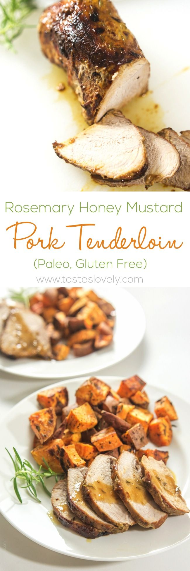 Rosemary Honey Mustard Pork Tenderloin #paleo #glutenfree