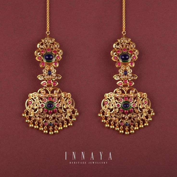 IMPERIAL EARINGS INNAYA HERITAGE JEWELLERY One of the most intricate designs to date....this one has taken over 6 months to perfect.....a stunning piece for the ultimate heritage bride Silver structure plated in 22 carat gold with sapphire, garnet and hand painted meena detailing Email or DM for price details info@innayaheritagejewellery.com #jewellery #traditional #mala #imperial #jewels #love #wedding #heritage #vintage #bride #desiwedding #art #couture #vogue #fashion #pakistanibride #...