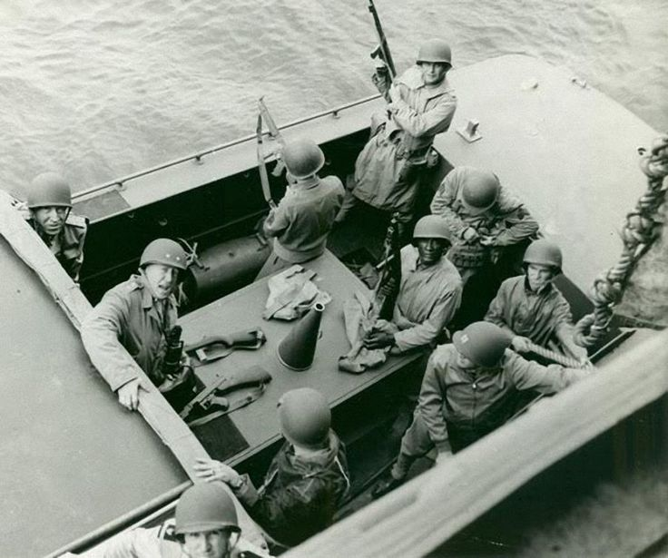 Patton going ashore in one of USS Augusta's small boats. His party have certainly got some fire power. Operation Torch November 1942