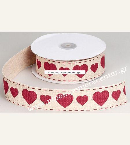 Κορδέλα βαμβακερή εκρού με κόκκινες καρδιές