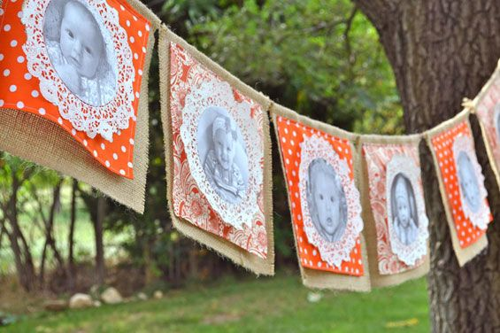 Pumpkin Patch Birthday - love the photo/doily bunting!