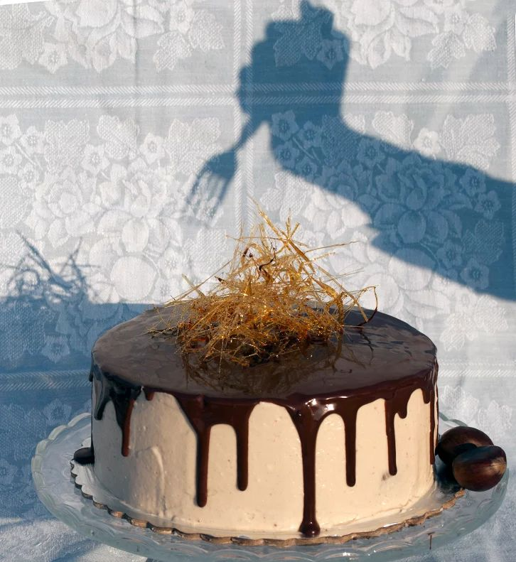 Who's attacking our first bake? Dense chocolate cake, chestnut cream cheese frosting, dark chocolate ganache and caramel decoration