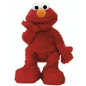 This is from Caitlyn.  This Elmo joins the Elmo Live we bought for Jessie's first birthday.  Jessie's Elmo hasn't worked for a long time because he's been loved so much.