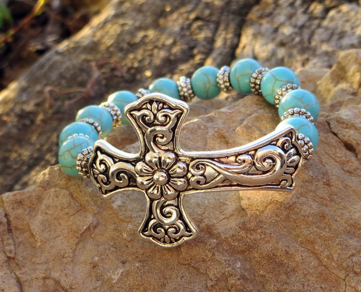Cowgirl Bling Silver CROSS Bracelet Gypsy Turquoise Stretch Beaded Western #Unbranded #stretch