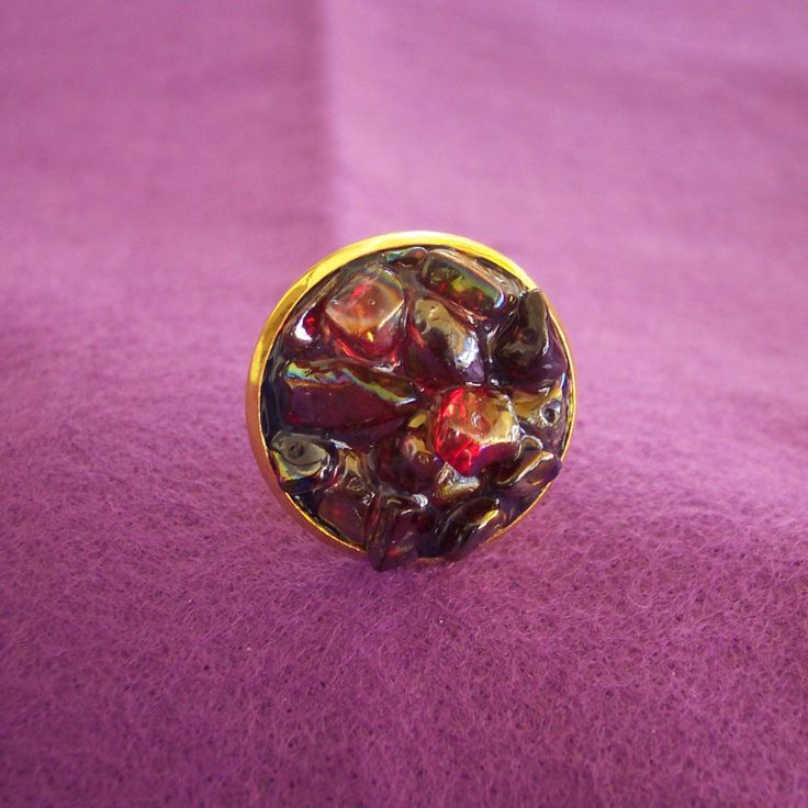 Ring with semi precious stones and glass - pinned by pin4etsy.com