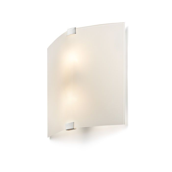 ALEX - Wall light of bent frosted glass with chrome-colored brackets. Must be installed with the brackets in a vertical position.