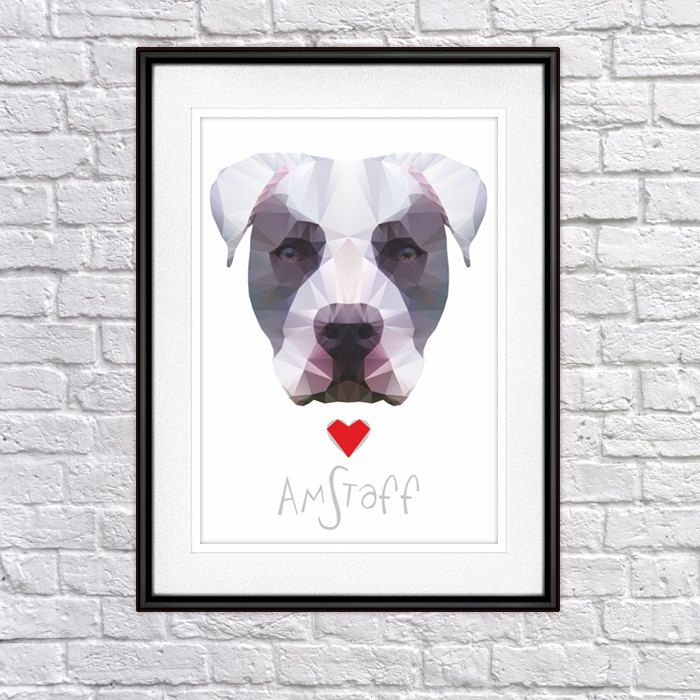Amstaff Digital Poster Print, Wall Decor, Geo Cubistic Speckle by PSIAKREW on Etsy