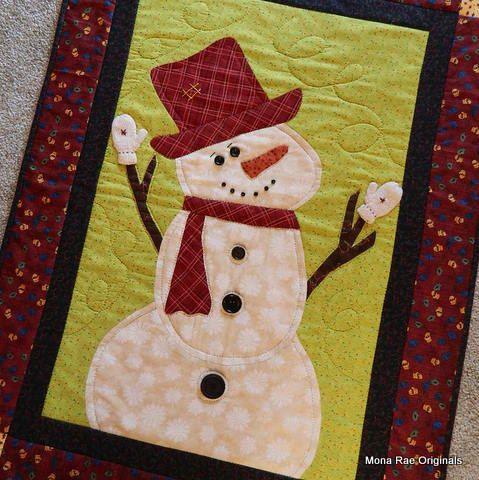 Snowman Wall Hanging  Hand Applique Original Design by MROriginals, $130.00