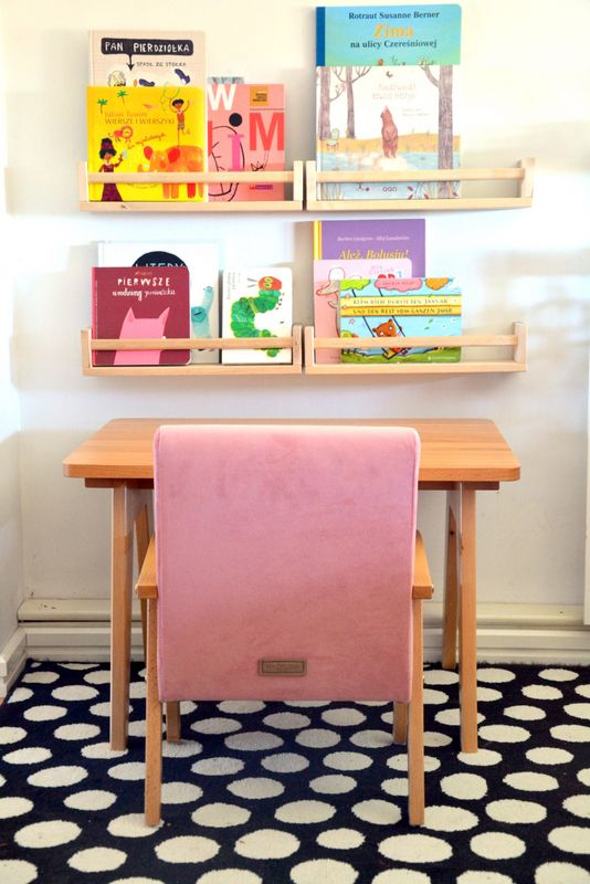 fabric child chair in colour pink powder