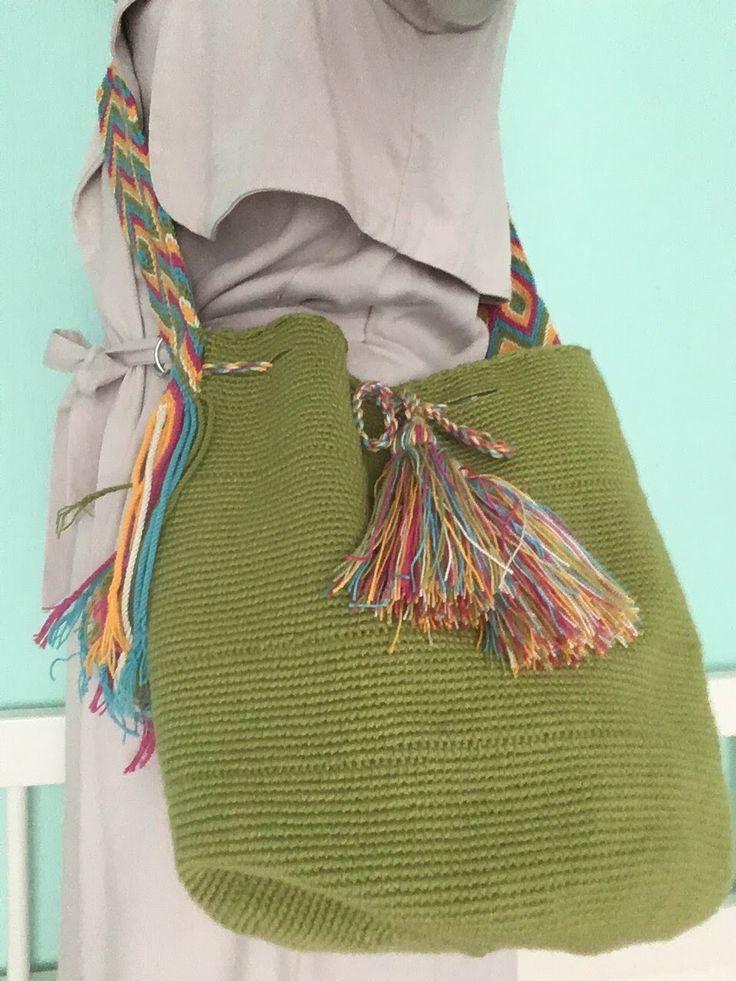 Groene Mochila #schoudertas #mochila #Wayuu #fairtrade #hippybag.nl