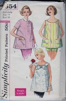 Simplicity 2554 Misses Maternity Smock Top Vintage 1960's Sewing Pattern #1960s #blouse #ladies #maternity #simplicity #vintage #patterns #sewing #retro #vintagestitching