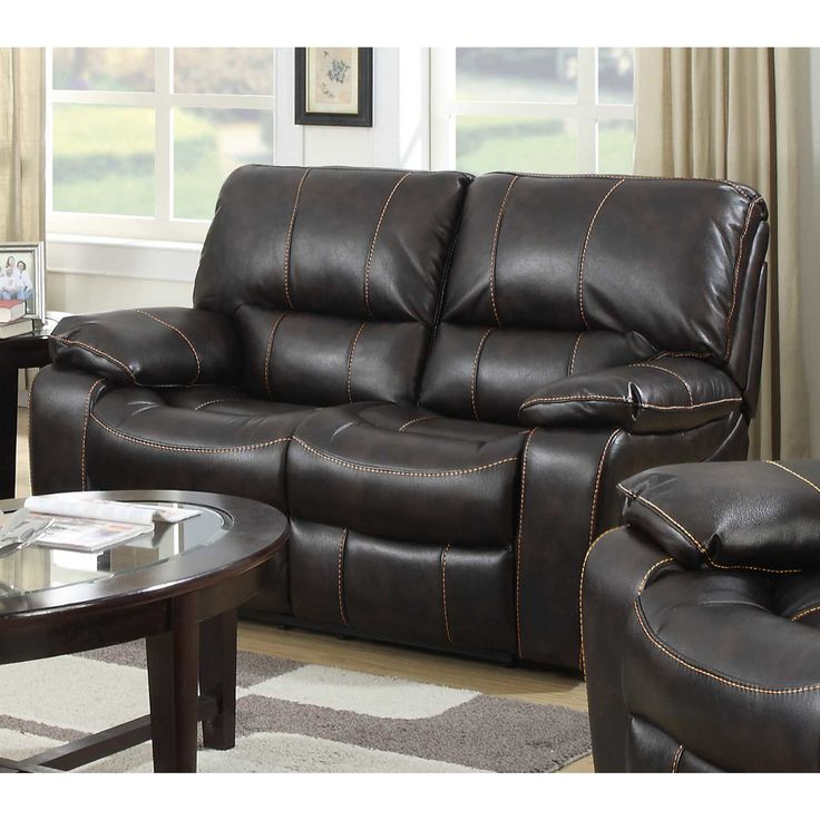 Silverado Dark Leather Reclining Loveseat