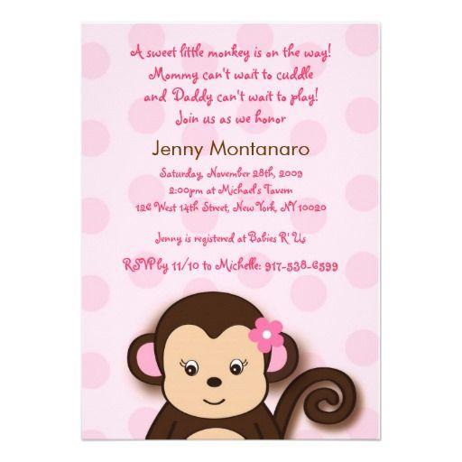 16 best monkey invitations for baby shower images on pinterest girl monkey dots custom baby shower invitations filmwisefo Choice Image