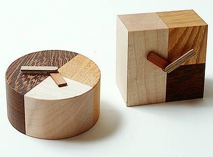 "Wood clock Maple, Zelkova, Bombay Blackwood Hands: Kojiro elm, Karin. Round"" 100mm x 60mm, Square: 90mm x 60mm x 90mm - $70"