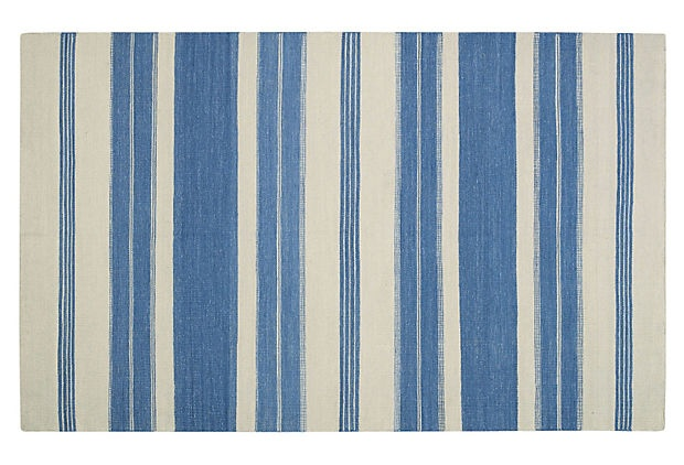 Blue and white striped rugs can not be over-done!! via OKL