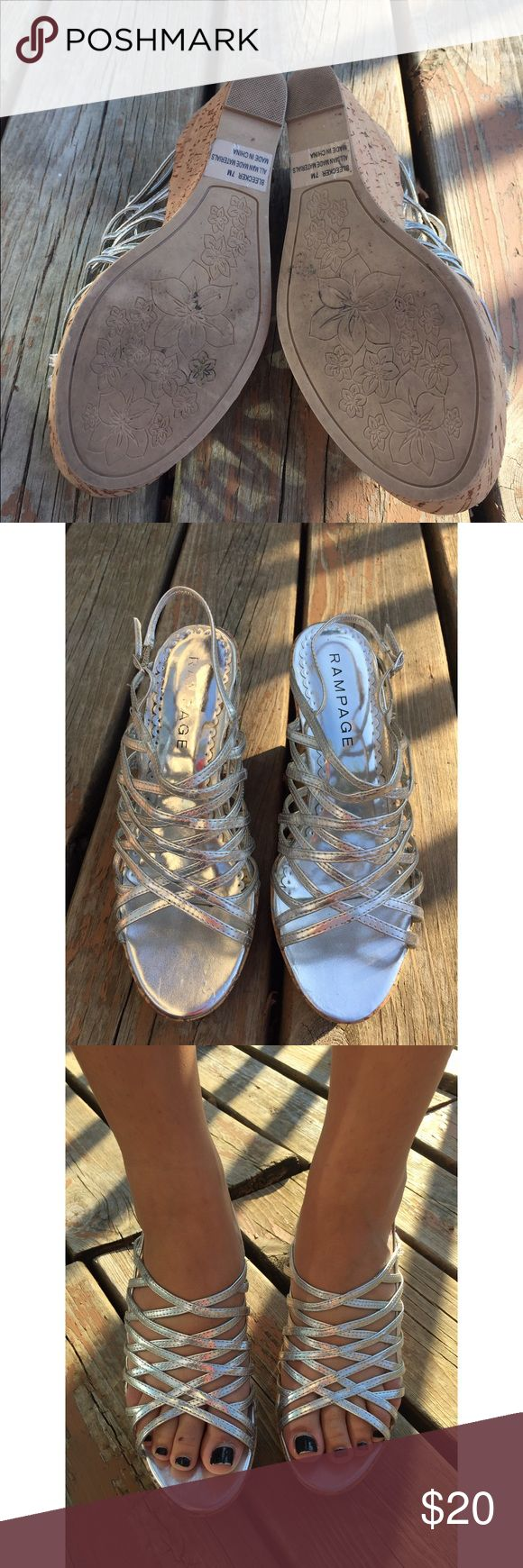 Rampage: Silver wedge sandals, size 7, worn once Rampage: Silver wedge sandals. On trend metallic. Size 7. Dressy & comfortable.  Perfect for Prom or Homecoming. Dress up jeans, look fab with dress/skirt. Worn once. Rampage Shoes Wedges
