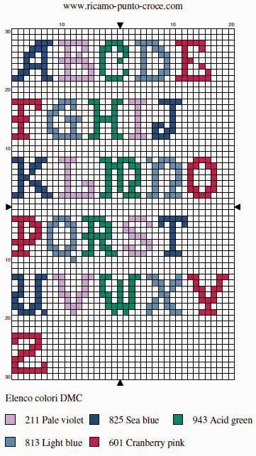 Passione uncinetto: Punto croce schema alfabeto