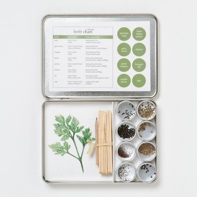 Yahoo Homes, Gift Guide: For the Crafty Gardener -- Including seeds, labels, and instructions, each Gardener Makers Seed Kit is an excellent starter for small gardens and habitats. Available in culinary herb, as well as butterfly habitat, bird habitat, and vegetable at Bambeco; $25: Crafty Gardens, Gifts Ideas, Herbs Seeds, Gardens Kits, Gardens Maker, Herbs Gardens, Culinary Herbs, Gifts Guide, Organizations Herbs