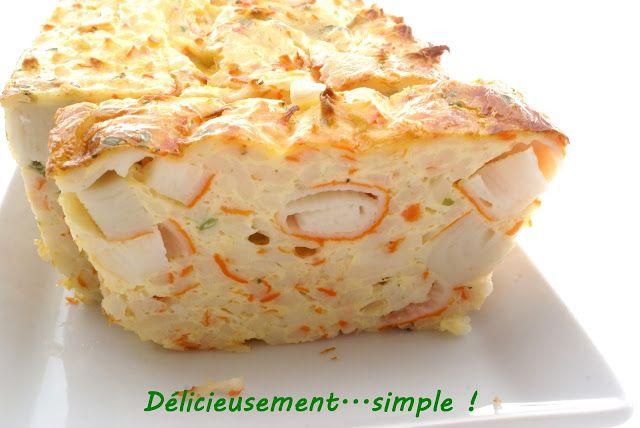 Délicieusement... simple ! Terrine au crabe & surimi -300 g de miettes de Surimi saveur crabe -8 bâtonnets de Surimi -4 gros oeufs -20 cl de lait -12 cl de lait de coco -2 c.à soupe de ciboulette -sel et poivre moulin
