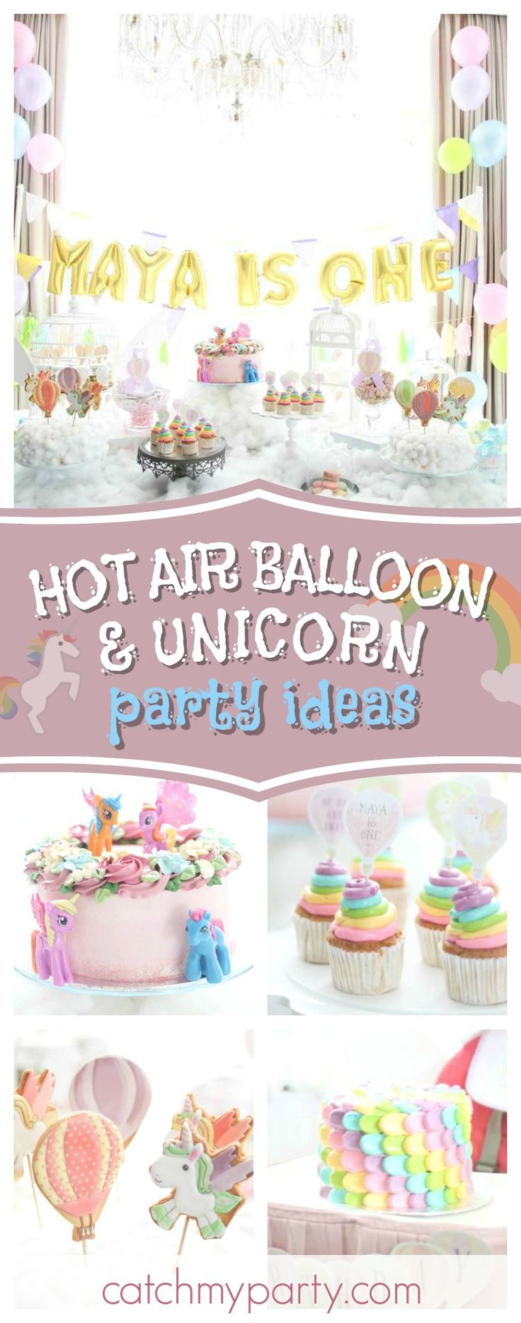 Take a look at this wonderful Hot Air Balloon and Unicorn 1st birthday party. The dessert table is stunning!! See more party ideas and share yours at CatchMyParty.com