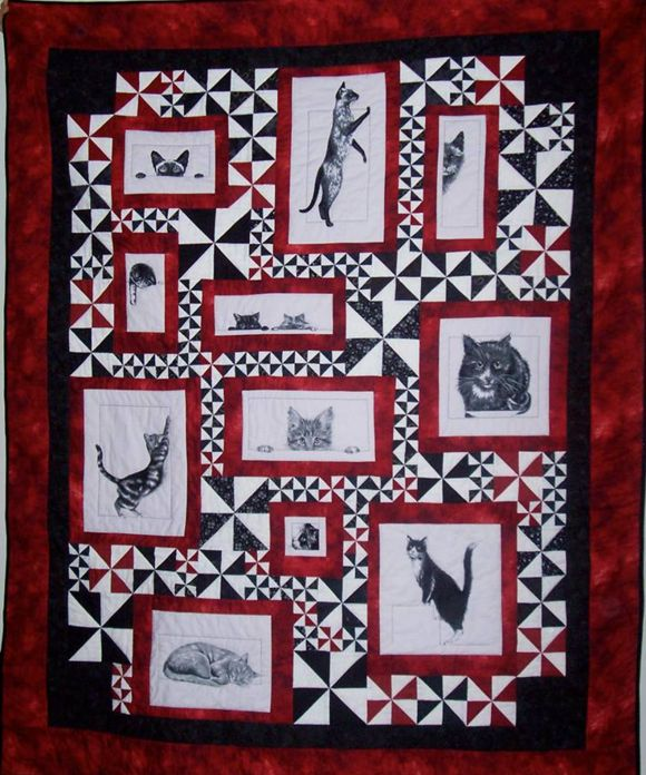 *Cat quilt done with panel fabric, rather than applique. Now THAT I can do lol.