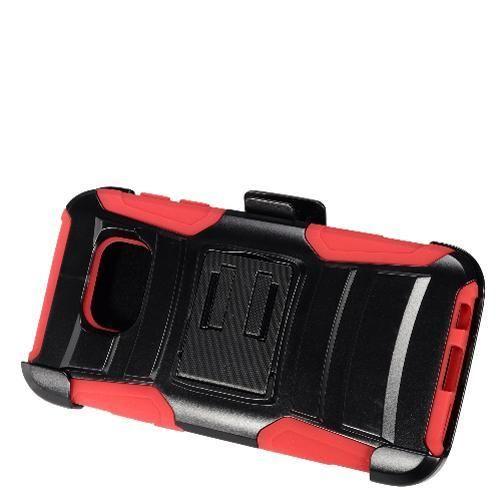 Samsung Galaxy S7 Black + Black + Red Robotic Case 2 w/ Holster