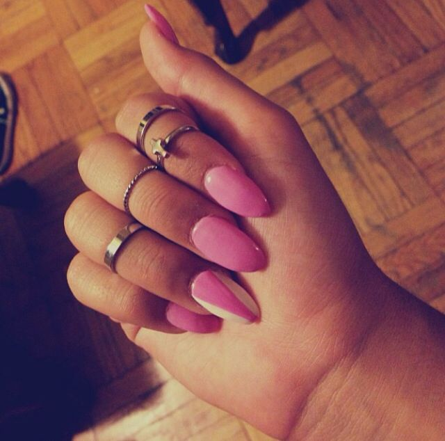 Pink and White Oval Shaped Nails | My Nail Designs ...