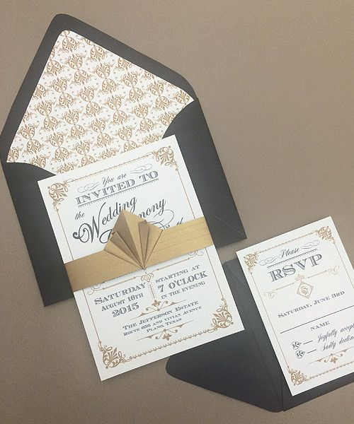Free DIY art deco wedding invitation and RSVP template. Perfect for a vintage or Great Gatsby wedding! From #DownloadandPrint