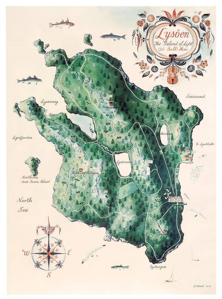 Eldre kart over Lysøen - Ole Bulls egen eventyrøy.