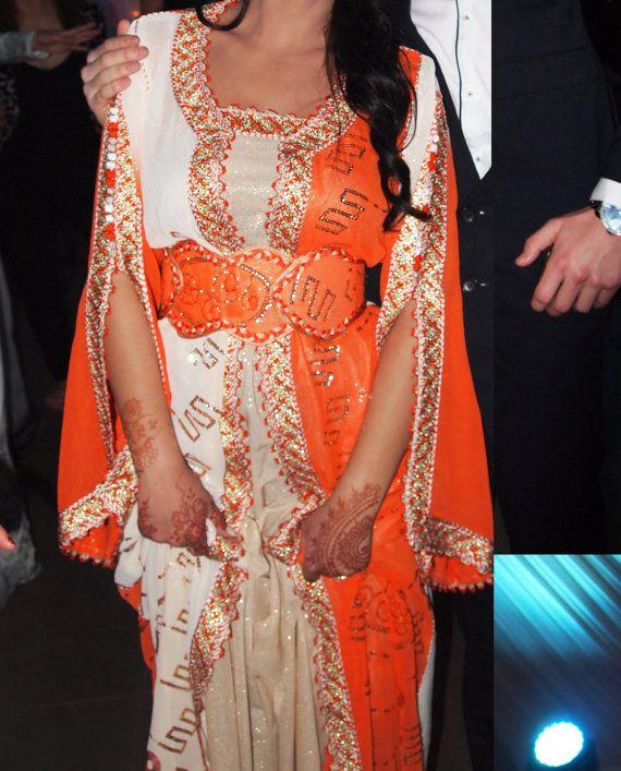 Caftan Marocain Robe Mariage orange dorée avec par Sheherazadesign