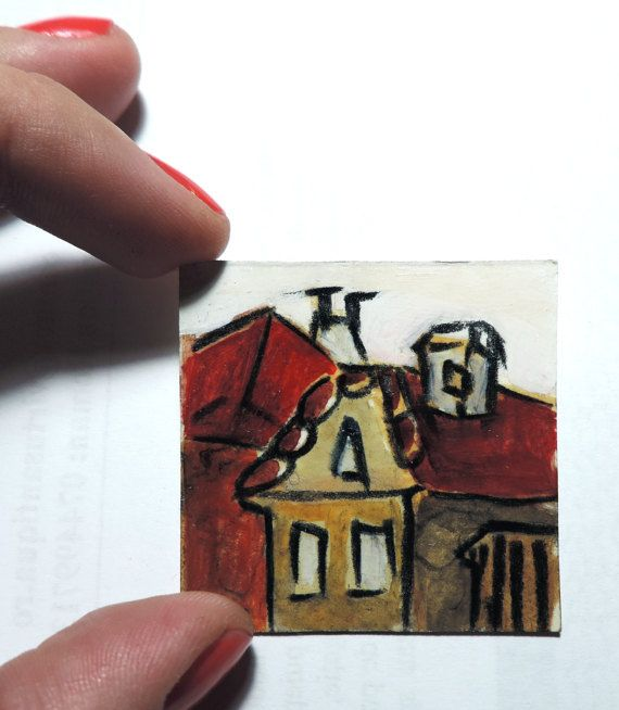 Small acrylic painting Roofs in Transylvania by GoddessGruia