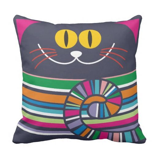 Crazy cat cushions. Cartoon cat body illustration fitted on a pillow. Design is in transparent png format so that the color of pillow can't be changed easily.