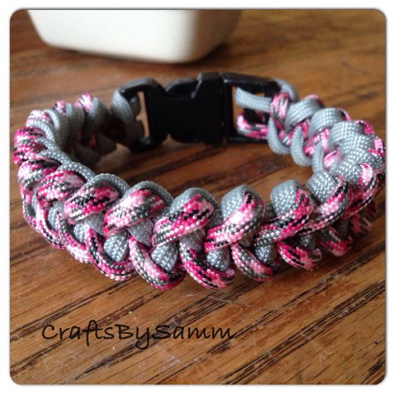 Paracord/Parachute Cord Jawbone Bracelet Pink Camo/Gray on Etsy, $10.00