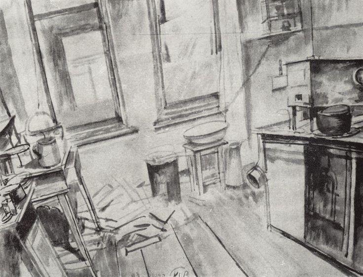 Kitchen - Kuzma Petrov-Vodkin
