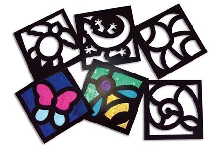 Set de 24 fenêtres vitrail prédécoupées, 6 modèles assortis : Papiers vitrail : Papiers et supports divers : 10 Doigts