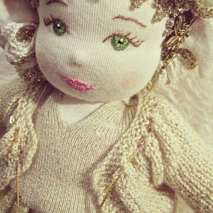 'Goldenrod', a waldorf style doll and the sixth from my MaerieFaerie collection. Delicate hand embroidered facial features. Made from recycled clothing and fabrics, vintage trims, and thrift store finds. Stuffing is 100% recycled polyester.