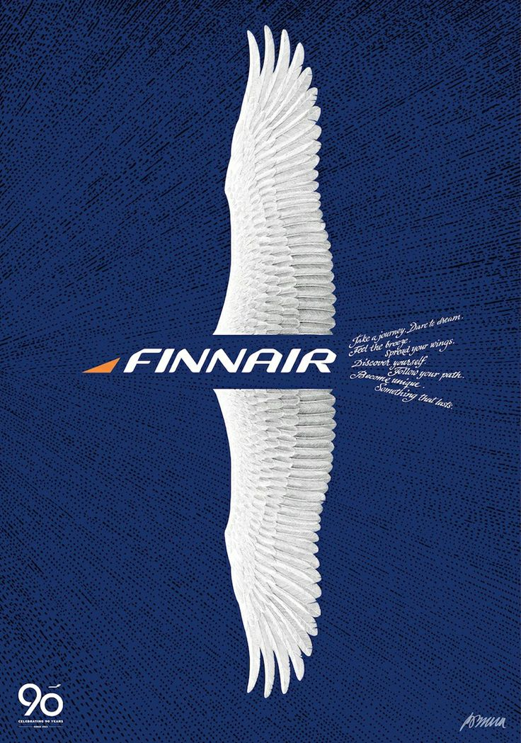Poster design by Erik Bruun for Finnair's 90 years... |