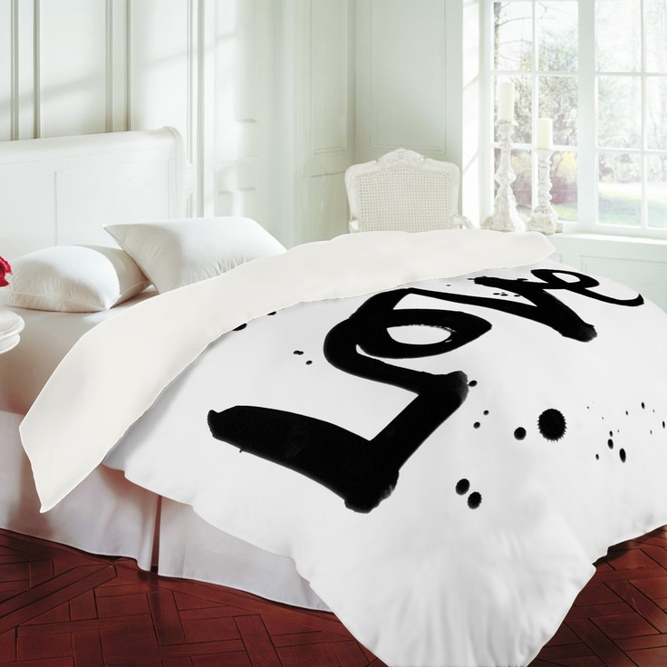 Really want a mordern black and white duvet cover to update our bedroom!:  Kal Barteski Love 1 Duvet Cover