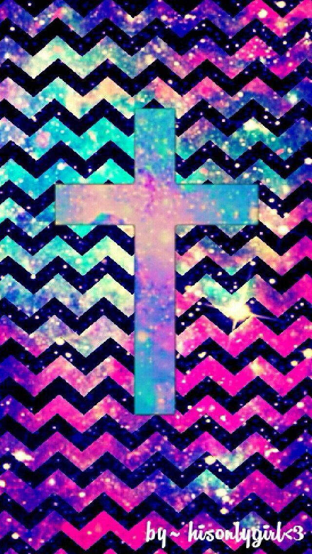 Galaxy Chevron With Cross Faith Pinterest Chevron