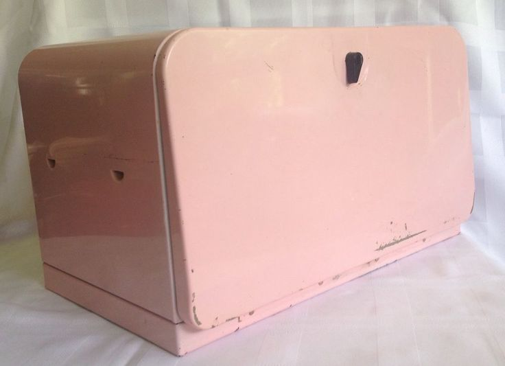 Bread Box Vintage Mid-Century Pink with Metal Shelf And Wooden Cutting Board