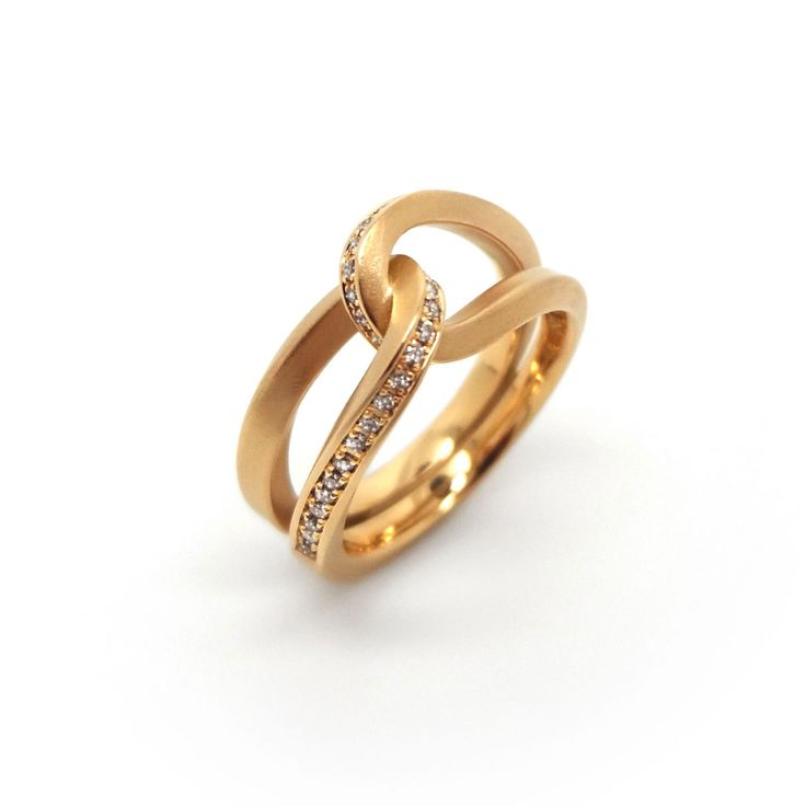 Oliver Schmidt Rose Gold & Champagne Diamond Loop Ring - ORRO Contemporary Jewellery Glasgow.