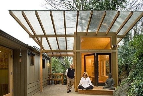 This photo acknowledges that translucent surfaces need not be limited to vertical planes. This roof for a small room and meditation spot is capped by translucent panels above wood members. It softens the light from above, while also allowing the adjacent tree to be sensed