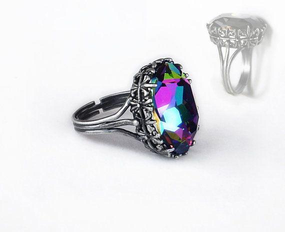 Multi Color Ring Swarovski Crystal Alternative Engagement Ring Swarovski Jewelry ELEKTRA Filigree Ring Oxidised Silver Ring Adjustable Ring by Aranwen