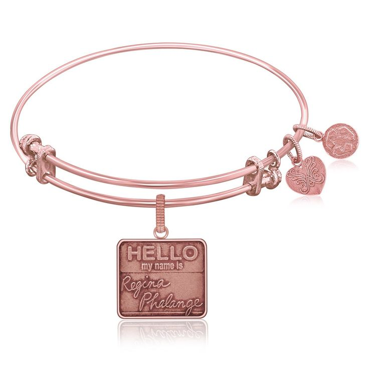 Expandable Bangle in Pink Tone Brass with Regina Phalange Symbol
