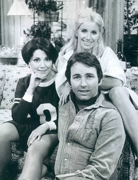 Threes Company.....Janet Wood, Chrissy Snow, and Jack Tripper sharing an apartment.