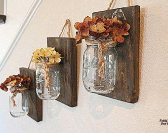 Mason Jar Wall Decor , Wood , Christmas gift idea, Country Decor , Rustic Decor , Boho Chic, Wall Sconce , Wall Hanging , Bathroom storage