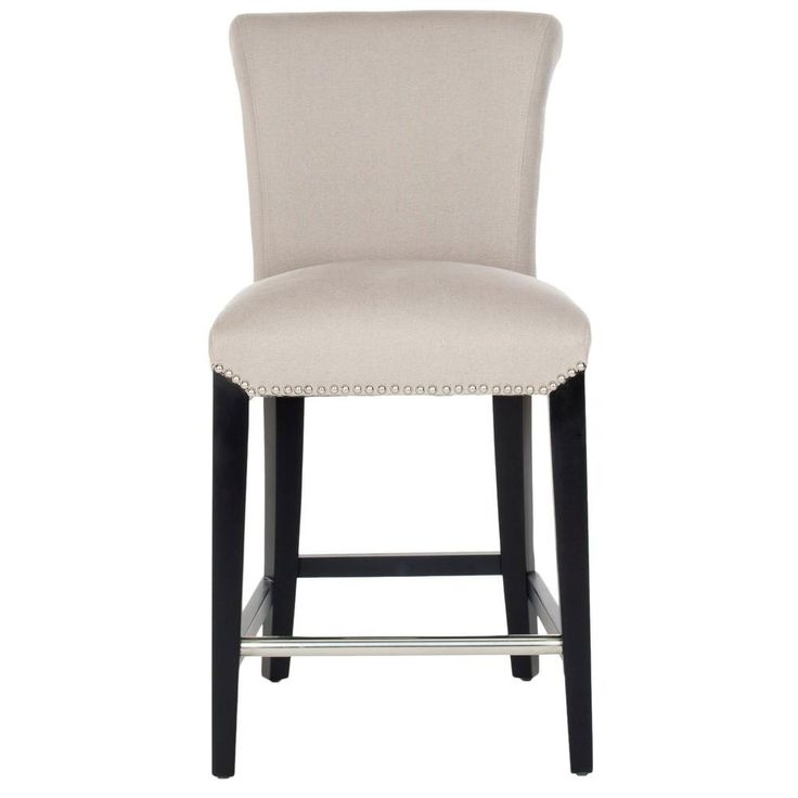Safavieh Seth 25 9 In Taupe Cushioned Bar Stool Taupe Black
