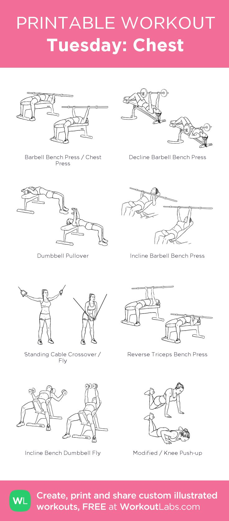 Tuesday: Chest:my visual workout created at WorkoutLabs.com • Click through to customize and download as a FREE PDF! #customworkout