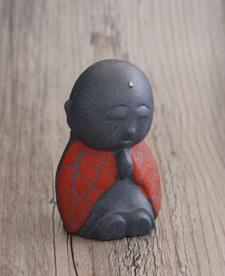 Red Cast Iron Jizo Statue, Made in Japan