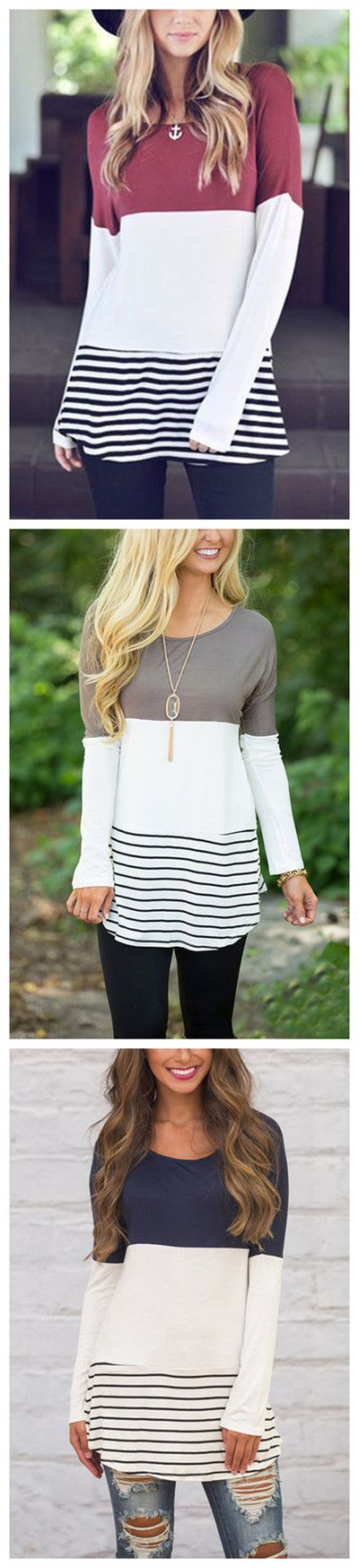 Colorblock & Striped Round Neck Top